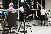 Ryan Hall works with the SMU Locomotor Performance Lab in Dallas, Texas on March 18, 2016. (Cooper Neill for The New York Times)