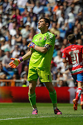 05.04.2015, Estadio Santiago Bernabeu, Madrid, ESP, Primera Division, Real Madrid vs FC Granada, 29. Runde, im Bild Real Madrid&acute;s goalkeeper Iker Casillas regrets after a goal // during the Spanish Primera Division 29th round match between Real Madrid CF and Granada FC at the Estadio Santiago Bernabeu in Madrid, Spain on 2015/04/05. EXPA Pictures &copy; 2015, PhotoCredit: EXPA/ Alterphotos/ Luis Fernandez<br /> <br /> *****ATTENTION - OUT of ESP, SUI*****