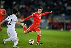 TBILSI, GEORGIA - Friday, October 6, 2017: Wales' Tom Lawrence scores the first goal during the 2018 FIFA World Cup Qualifying Group D match between Georgia and Wales at the Boris Paichadze Dinamo Arena. (Pic by David Rawcliffe/Propaganda)