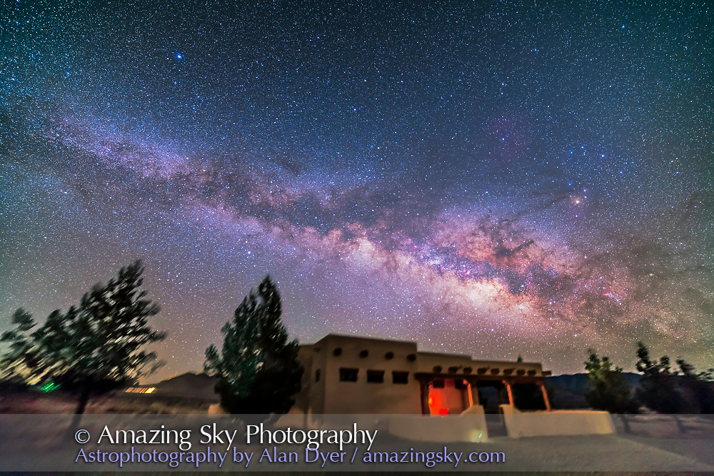 The northern summer Milky Way rising into the east. Taken from the Painted Pony Resort, New Mexico, March 10, 2013. This is a stack of 10 x 5 minute tracked exposures with the Samyang 14mm lens at f/2.8 and Canon 5D MkII at ISO 800. Used iOptron SkyTracker. Ground is from two exposures.