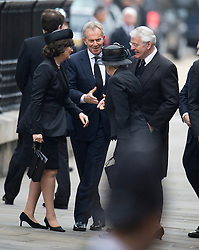 © London News Pictures.17/04/2013. London, UK.  Tony Blair, Cherie, John Major and Norma Major  arriving at St Paul's Cathedral in Londo Blairn for The Funeral of former British Prime Minister, Margaret Thatcher on April 17, 2013. Photo credit : Ben Cawthra/LNP