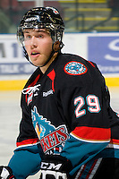 KELOWNA, CANADA, OCTOBER 1:  Myles Bell #29 of the Kelowna Rockets skates against the Vancouver Giants on October 1, 2011 at Prospera Place in Kelowna, British Columbia, Canada (Photo by Marissa Baecker/Getty Images) *** Local Caption ***
