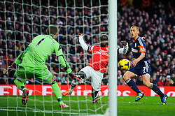 A shot from Arsenal Defender Bacary Sagna (FRA) is saved by Fulham Goalkeeper Maarten Stekelenburg (NED) during the match - Photo mandatory by-line: Rogan Thomson/JMP - Tel: Mobile: 07966 386802 - 18/01/14 - SPORT - FOOTBALL - Emirates Stadium - Arsenal v Fulham - Barclays Premier League.