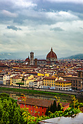 Long distance view of Cathedral of Santa Maria del Fiore, Florence, Italy