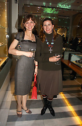 Left to right, VISCOUNTESS MACKINTOSH OF HALIFAX and the HON.MRS GRAHAM MACKINTOSH at Garrard's Winter Wonderland party held at their store 24 Albermarle Street, London W1 on 30th November 2006.<br />