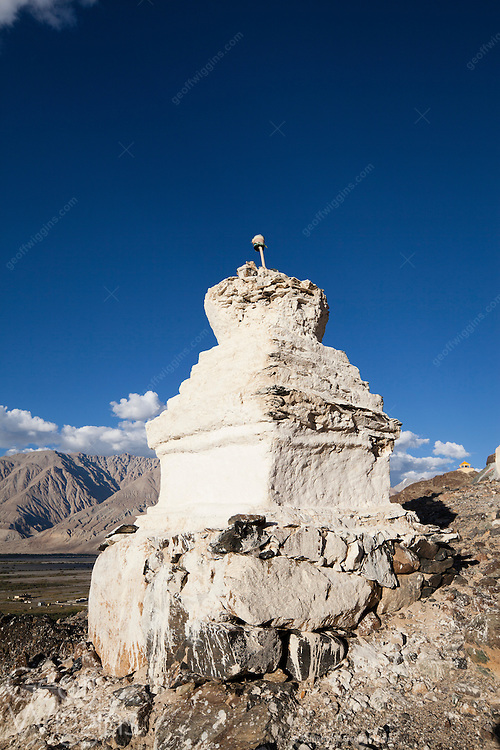 Buddhist Stupas near Diskit monastery, overlooking the Shyok river Nubrah Valley, Ladakh, Northern India