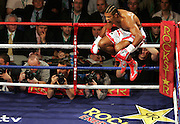 WBA and WBC champion David Haye jumps in the air before the fight. He went onto knock out WBO champion Enzo Maccarinelli in two rounds on Saturday night at the O2 Arena in London. 8th March 2008.