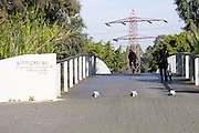 the 15th Maccabiah Memorial Bridge over the Yarkon river in Ramat Gan Israel. The original bridge collapsed during the openiong ceremony killing and maiming Australian delegates