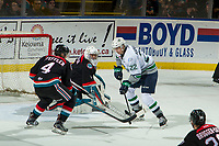 KELOWNA, CANADA - OCTOBER 10:  Devin Steffler #4 stick checks as James Porter #1 of the Kelowna Rockets poke checks Dillon Hamaliuk #22 of the Seattle Thunderbirds during first period on October 10, 2018 at Prospera Place in Kelowna, British Columbia, Canada.  (Photo by Marissa Baecker/Shoot the Breeze)  *** Local Caption ***