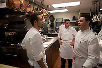.the kitchen of Cafe Boulud, NYC...Chef Gavin Kaysen, at right