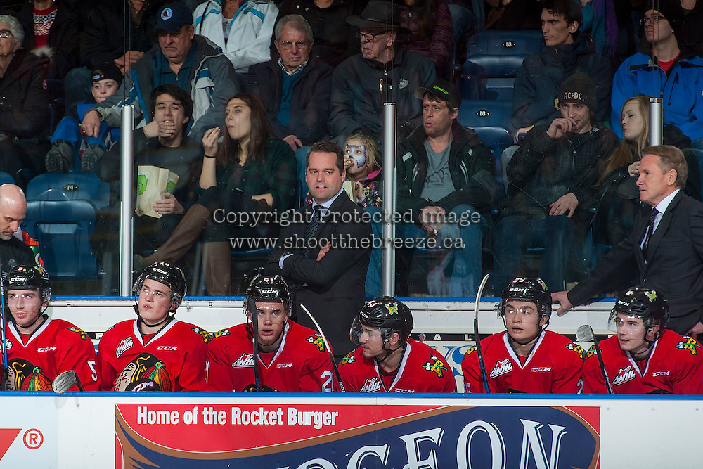 KELOWNA, CANADA - JANUARY 21: Kyle Gustafson, assistant coach of the Portland Winterhawks stands on the bench against the Kelowna Rockets on January 21, 2017 at Prospera Place in Kelowna, British Columbia, Canada.  (Photo by Marissa Baecker/Shoot the Breeze)  *** Local Caption ***