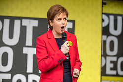 © Licensed to London News Pictures. 23/03/2019. London, UK. First Minister of Scotland Nicola Sturgeon at the People's Vote march in London. More than one million people are estimated to have taken part in the demonstration. Photo credit: Rob Pinney/LNP