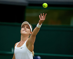 LONDON, ENGLAND - Saturday, July 5, 2014: Eugenie Bouchard (CAN) during the Ladies' Singles Final match on day twelve of the Wimbledon Lawn Tennis Championships at the All England Lawn Tennis and Croquet Club. (Pic by David Rawcliffe/Propaganda)