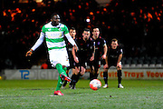Yeovil Town's Francois Zoko misses an injury time penalty during the The FA Cup Third Round Replay match between Yeovil Town and Carlisle United at Huish Park, Yeovil, England on 19 January 2016. Photo by Graham Hunt.