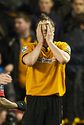 WOLVERHAMPTON, ENGLAND - Saturday, March 6, 2010: Wolverhampton Wanderers' Stephen Ward looks dejected as Manchester United score the only goal of the game during the Premiership match against Manchester United at Molineux. (Photo by David Rawcliffe/Propaganda)