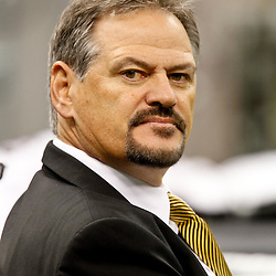 November 28, 2011; New Orleans, LA, USA; New Orleans Saints general manager Mickey Loomis prior to kickoff of a game against the New York Giants at the Mercedes-Benz Superdome. Mandatory Credit: Derick E. Hingle-US PRESSWIRE