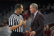 Southern California Trojans head coach Andy Enfield argues with referee D.G. Nelson during an NCAA college basketball game in the second round of the NIT tournament against the Western Kentucky Hilltoppers in Los Angeles, Monday, Mar 19, 2018. WKU defeated USC 79-75.
