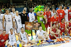 Players during Slovenian basketball All Stars Grosuplje 2013 event, on December 29, 2013 in Arena Brinje, Grosuplje, Slovenia. (Photo By Urban Urbanc / Sportida.com)
