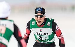 20.02.2016, Salpausselkae Stadion, Lahti, FIN, FIS Weltcup Nordische Kombination, Lahti, Team Sprint, Langlauf, im Bild v.l.: Lukas Klapfer (AUT) ud Bernhard Gruber (AUT) // f.l.: Lukas Klapfer of Austria ad Bernhard Gruber of Austria  celebrates during Cross Country Team Sprint Race of FIS Nordic Combined World Cup, Lahti Ski Games at the Salpausselkae Stadium in Lahti, Finland on 2016/02/20. EXPA Pictures © 2016, PhotoCredit: EXPA/ JFK