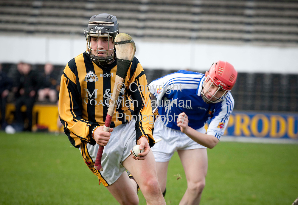 14/3/2009.Pictured in action at the Good Counsel College V Castlecomer CS  match in Nowlan Park Kilkenny was Castlecomer's Gerry Callinan and Good Counsel's Syl Barron..Picture Dylan Vaughan.