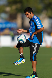 July 20, 2011; Santa Clara, CA, USA;  San Jose Earthquakes defender/midfielder Steven Beitashour (33) warms up before the game against the Vancouver Whitecaps at Buck Shaw Stadium. San Jose tied Vancouver 2-2.