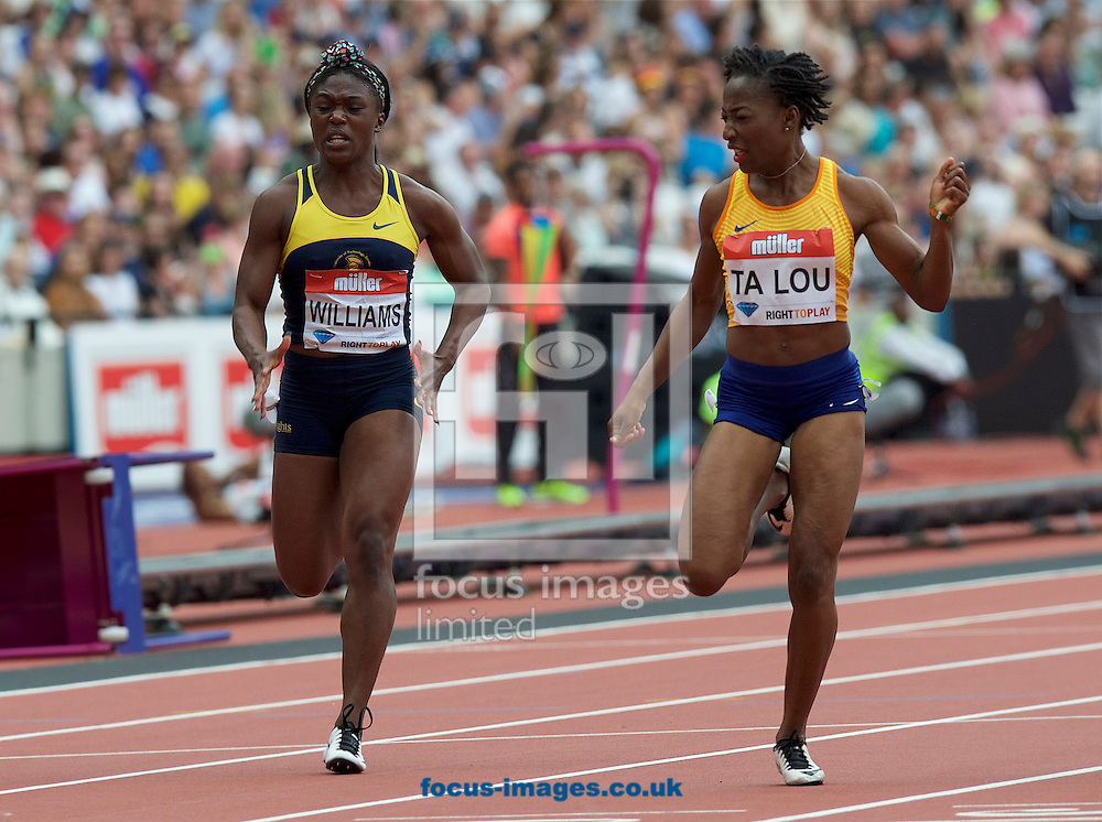Christania Williams (Jamaica) and winner  Marie-Josee Ta Lou (Ivory Coast) competing in the 100m during the M&uuml;ller Anniversary Games in the Stadium at Queen Elizabeth Olympic Park, London, UK<br /> Picture by Alan Stanford/Focus Images Ltd +44 7915 056117<br /> 23/07/2016