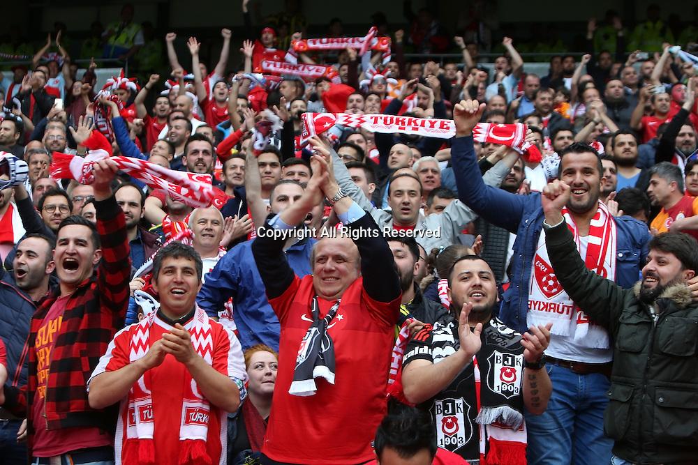 22.05.2016. Etihad Stadium, Manchester, England. International football friendly match, England versus Turkey. Turkey fans celebrating the equalising goal in the first half.