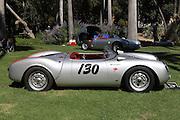 "ARCADIA, CALIFORNIA, USA, SEPTEMBER 6, 2013. Spyders in the Garden car show at the Los Angeles Arboretum on September 6, 2013. A replica of James Dean's 1955 Porsche 550 Spyder ""The Little Bastard"""