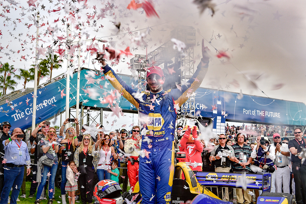 Alexander Rossi, Andretti Autosport Honda celebrates the win in victory lane<br /> Sunday 15 April 2018<br /> Toyota Grand Prix of Long Beach<br /> Verizon IndyCar Series<br /> Streets of Long Beach, California USA<br /> World Copyright: Scott R LePage<br /> LAT Images