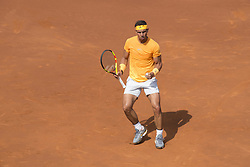 April 28, 2018 - Barcelona, Barcelona, Spain - RAFAEL NADAL celebrates during the semifinal against DAVID GOFFIN in the Barcelona Open Banc Sabadell 2018. RAFAEL NADAL won the match 6-4 6-0. (Credit Image: © Patricia Rodrigues/via ZUMA Wire via ZUMA Wire)