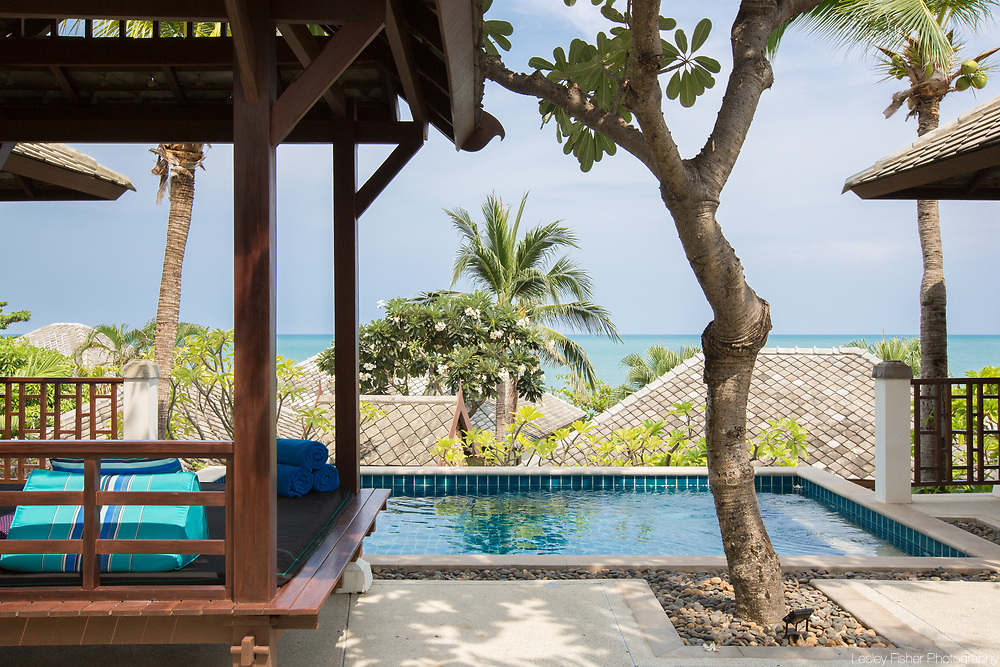Swimming pool and sala at Villa 29, a 3 bedroom private and luxury ocean viw villa located in Kanda Resort, a private villa estate located between Cheong Mon and North Chaweng
