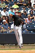 March 18, 2018 - Tampa, FL, U.S. - TAMPA, FL - MAR 18: Brandon Drury (29) of the Yankees makes a throw over to first base for the out during the game between the Miami Marlins and the New York Yankees on March 18, 2018, at George M. Steinbrenner Field in Tampa, FL. (Photo by Cliff Welch/Icon Sportswire) (Credit Image: © Cliff Welch/Icon SMI via ZUMA Press)