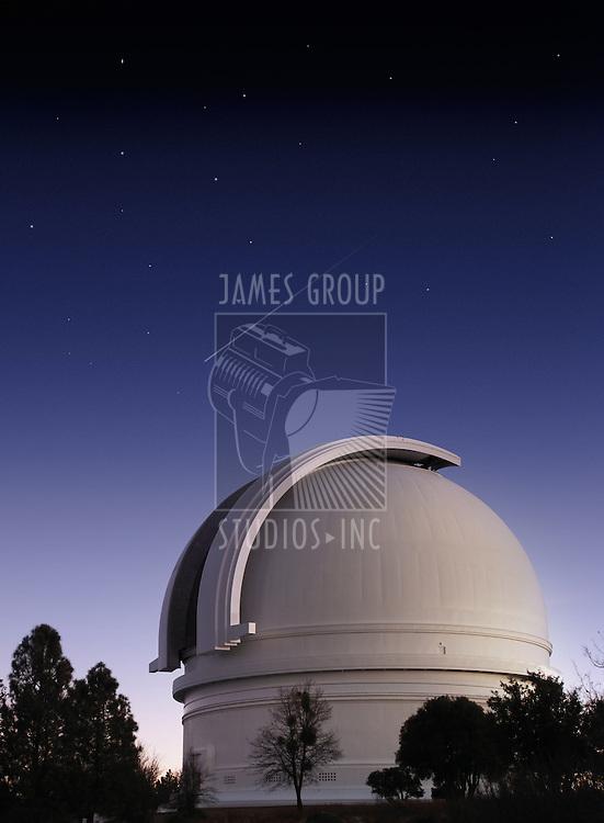 Mt. Palomar astronomical observatory at dusk vertical format