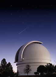 Mt. Palomar astronomical observatory at dusk vertical format