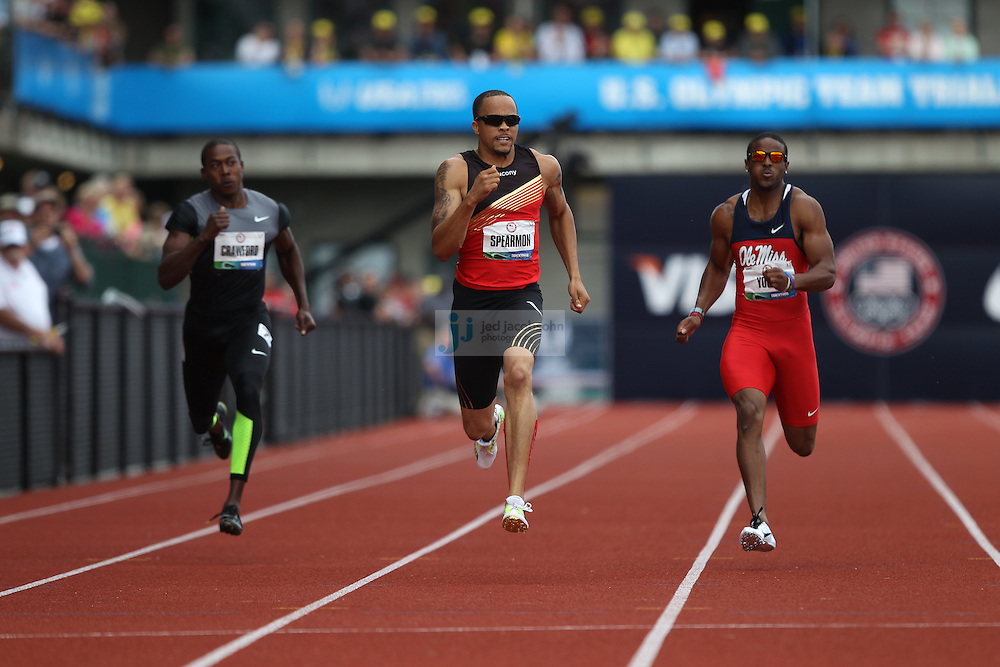 Wallace Spearmon Jr. runs to a victory in the finals of the 200m during day 10 of the U.S. Olympic Trials for Track & Field at Hayward Field in Eugene, Oregon, USA 1 Jul 2012..(Jed Jacobsohn/for The New York Times)....