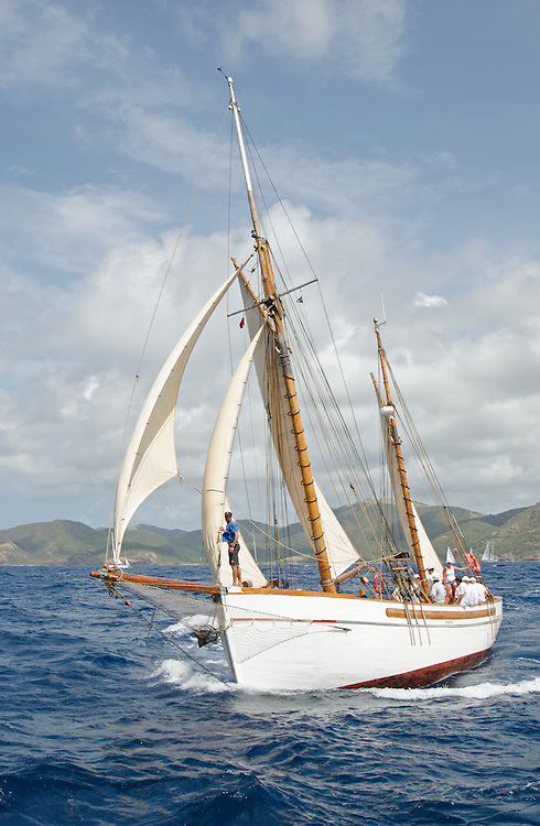 """Samsara<br /> <br /> Back in the 60s, classic yachts, which were gathered in English Harbour Antigua, had begun chartering and the captains and crews challenged each other to a race down to Guadeloupe and back to celebrate the end of the charter season. From this informal race, Antigua Race Week was formalised in 1967, and in those days all of the yachts were classics. As the years grew on, the classic yachts were slowly outnumbered but the faster sleeker modern racing yachts and 24 years later the Classic Class had diminished to a few boats and was abandoned in 1987. However this same year seven classic yachts turned out and were placed in Cruising Class 3 with the bare boats. The class was so unmatched that it was downright dangerous, so Captain Uli Pruesse hosted a meeting onboard Aschanti of Saba with several classic skippers and in 1988 the Antigua Classic Yacht Regatta was born, with seven boats.<br /> <br /> In 1991, Elizabeth Meyer brought her newly refitted Endeavour and Baron Edmond Rothschild brought his 6-meter Spirit of St Kitts and """"CSR"""" became the first Sponsor and inaugurated the Concours d'Elégance. In 1996 we created the """"Spirit of Tradition Class"""", which has now been accepted all over the world, which gives the """"new"""" classics, built along the lines of the old, a chance to sail alongside their sister ships. In 1999 we celebrated the first race between the J class yachts in 60 years. Mount Gay Rum has sponsored the Regatta for many years, and we have recently added Officine Panerai as our first ever Platinum Sponsor.<br /> <br /> The Antigua Classic Yacht Regatta has maintained a steady growth, hosting between 50 and 60 yachts every year and enjoys a wonderful variety of competitors, including traditional craft from the islands, classic ketches, sloops, schooners and yawls making the bulk of the fleet, together with the stunningly beautiful Spirit of Tradition yachts, J Class yachts and Tall Ships."""