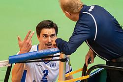 12-05-2019 NED: Abiant Lycurgus - Achterhoek Orion, Groningen<br /> Final Round 5 of 5 Eredivisie volleyball, Orion wins Dutch title after thriller against Lycurgus 3-2 / Wytze Kooistra #2 of Lycurgus, referee Koos Nederhoed