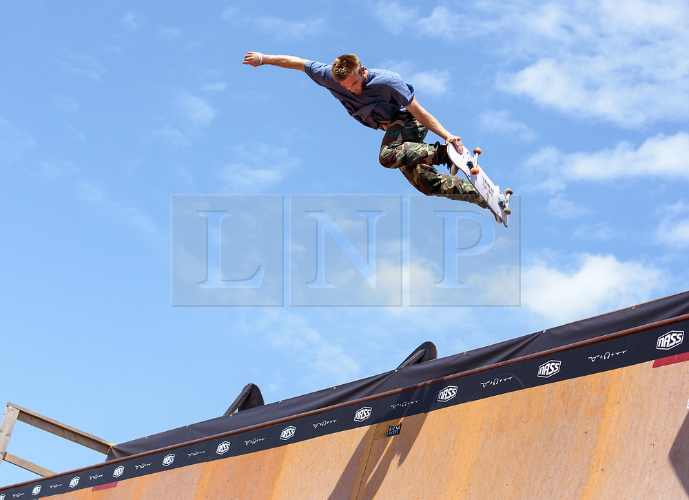© Licensed to London News Pictures.  06/07/2017; Bath & West Showground, Somerset, UK. NASS, National Action Sports Show festival. Practice on the 'Vert' at the world's leading BMX and skate athletes will compete in the West Country this weekend as the IBMXFF World Championships and Europe's leading skate contest return to NASS Festival. The annual action sport and music festival, which takes place on the 6th – 9th July near Bristol will host the BMX World Championships for the second year running, after the games returned to the UK for the first time in 28 years last year. The event will be one of the largest global BMX freestyle and skate events of the year with more than 450 professional and amateur athletes from over 40 countries heading to the festival. Earlier this month it was announced that BMX Freestyle has been added to the programme of the Tokyo 2020 Olympic Games highlighting the growth and incredible standard of this sport. Olympics hopefuls and reigning BMX Champions Logan Martin, Vince Byron and Nick Bruce will all return to defend their titles across Pro Park, Vert and Dirt. The competition will be hosted by BMX's greatest legend, Mat Hoffman. Picture credit : Simon Chapman/LNP