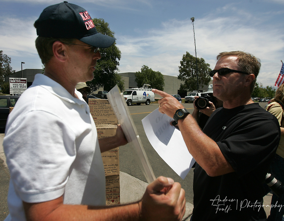 /Andrew Foulk/ For The Californian/ .Scott Thomson, of Temecula, a supporter of the Temecula Islamic Center argues with Steve Cotteen, of Murrieta, during a protest organized by a group opposed to the centers plan to build a mosque in Temecula.  .