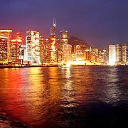 Hong Kong Central, Cityscape at night.