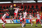 Forest Green Rovers Christian Doidge(9) heads the ball during the EFL Sky Bet League 2 match between Stevenage and Forest Green Rovers at the Lamex Stadium, Stevenage, England on 26 January 2019.