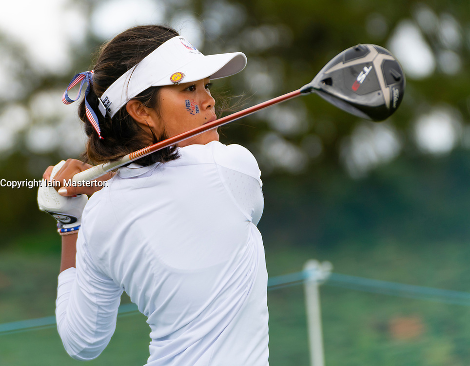 Auchterarder, Scotland, UK. 10 September 2019. Day one of the Junior Solheim Cup 2019 at the Centenary Course at Gleneagles. Tuesday Morning Foursomes. Pictured Brianna Navarrosa of USA on the tee. Iain Masterton/Alamy Live News