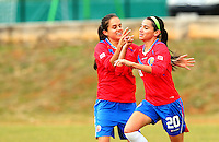 Fifa Womans World Cup Canada 2015 - Preview //<br /> Istria Cup 2015 Tournament ( Stella Maris Stadium , Umag - Croatia ) - <br /> Costarica vs Bosnia & Herzegovina 1-0  , <br /> Wendy Acosta of Costarica (R) celebrates with team mates Katherine Alvarado (L) ,<br /> after score his Goal (1-0) during the match