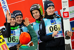 Second placed team of Slovenia: Spela Rogelj, Jerneja Brecl, Ursa Bogataj and Nika Kriznar celebrate during Trophy ceremony after the Team Competition at Day 2 of World Cup Ski Jumping Ladies Ljubno 2019, on February 9, 2019 in Ljubno ob Savinji, Slovenia. Photo by Matic Ritonja / Sportida