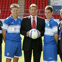 St Johnstone FC U19's new kit sponsor King Group, pictured from left is Tommy Campbell, Youth Development Manager, Steven Doris, Duncan King of King Group, Kevin Moon and Geoff Brown, Chairman St Johnstone FC.<br />Picture by Graeme Hart.<br />Copyright Perthshire Picture Agency<br />Tel: 01738 623350  Mobile: 07990 594431