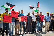 Residents and activists gather in Susiya to hold a peaceful demonstration against the demolition order imposed on the village.