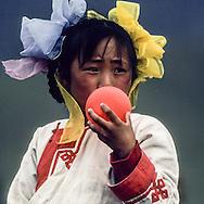 Mongolia. young girl with baloon. naadam camp  OulanBator