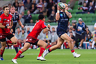 MELBOURNE, AUSTRALIA - APRIL 06: Billy Meakes of the Rebels makes an attempt to run the ball at round 8 of The Super Rugby match between Melbourne Rebels and Sunwolves on April 06, 2019 at AAMI Park in VIC, Australia. (Photo by Speed Media/Icon Sportswire)