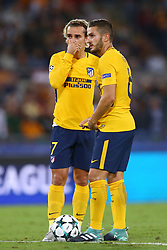 September 12, 2017 - Rome, Italy - Antoine Griezmann and Koke of Atletico  during the UEFA Champions League Group C football match between AS Roma and Atletico Madrid on September 12, 2017 at the Olympic stadium in Rome. (Credit Image: © Matteo Ciambelli/NurPhoto via ZUMA Press)