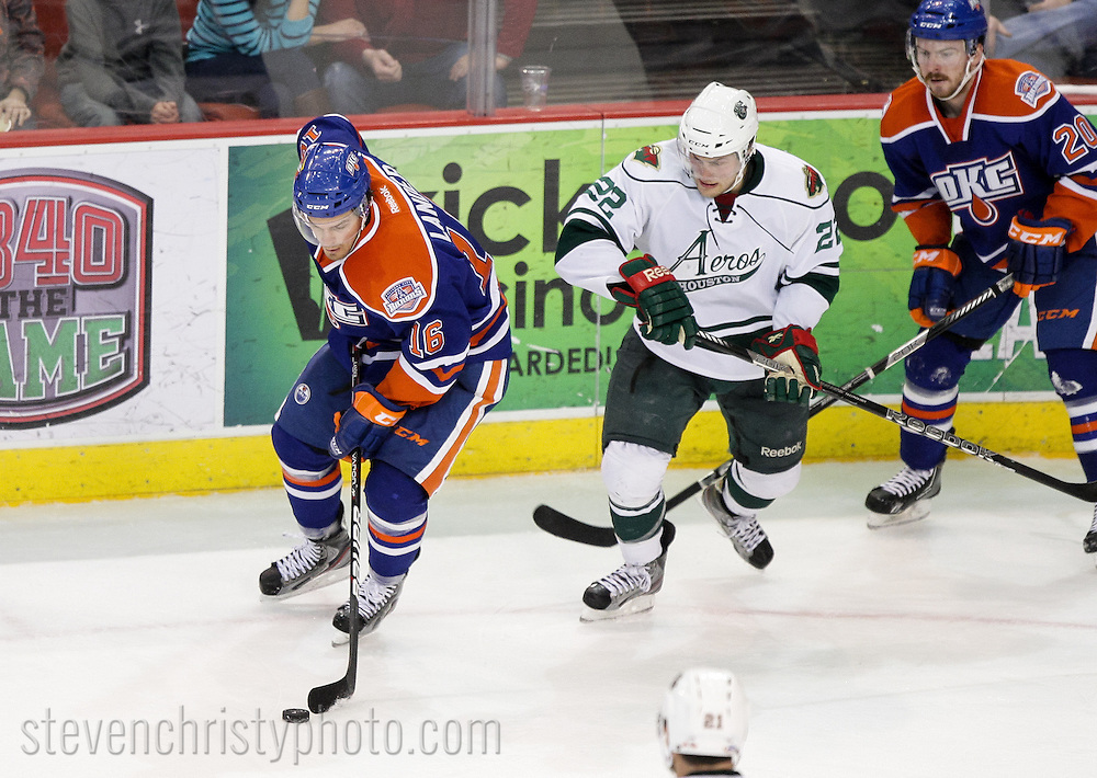 March 22, 2013: The Oklahoma City Barons play the Houston Aeros in an American Hockey League game at the Cox Convention Center in Oklahoma City.